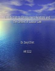 (1) Introduction to Employment Relations and Labour Law (3)