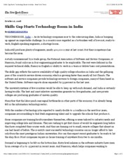 Skills Gap Hurts Technology Boom in India - New York Times