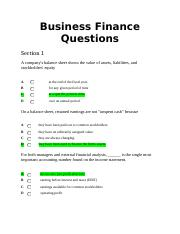 business finance questions