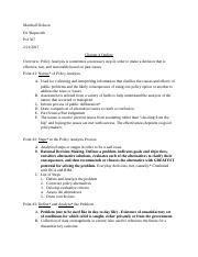 Policy Analysis Chapter 4 Outline and Summary.docx