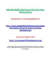 KELLER MGMT 530 Week 4 DQ 2 Decision Making Styles.doc