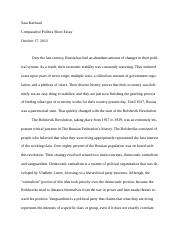 Karlstad Comparative Short Essay