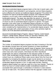 Accelerated Degree Programs Research Paper Starter - eNotes