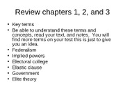 Review chapters 1, 2, and 3