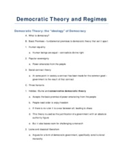 Democratic Theory and Regimes