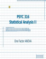 Lecture 9 - One Factor ANOVA