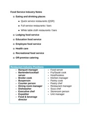 Food Service Industry Notes