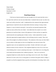 Literacy Narrative Essay - Shawn Brodie English 110 My Journey of ...