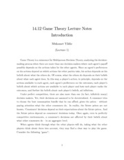 Yildiz M., Game Theory Lecture Notes Introduction