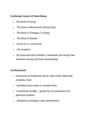 Confucian Canon of Texts Notes