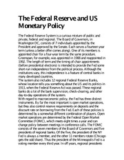 The Federal Reserve and US Monetary Policy notes