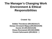 The Manager's Changing Work Environment & Ethical Responsibilities