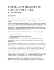 29 PERFORMANCE MEASURES TO SUPPORT COMPETITIVE ADVANTAGE