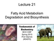 Lecture-21 - Fatty Acid Metabolism