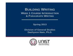 Week 1 Course introduction_paragraph writing