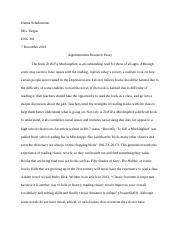 New Argumentative Research Essay