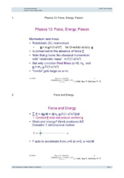 Lecture 5- Force, Energy, Fission
