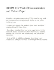 BCOM 475 Week 2 Communication and Culture Paper