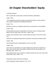 18 Chapter Shareholders Test Bank