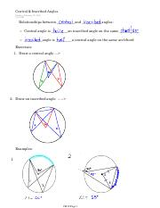 Central & Inscribed Angles