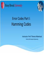 Networking - Hamming Code - (Error Codes - Part I) - NOTES