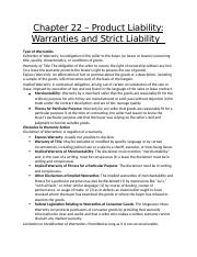 Chapter 22 – Product Liability- Warranties and Strict Liability   .docx