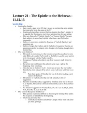 Rel 155 Lecture 21 - Hebrews