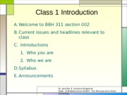 BBH 311 Class 1 Lecture