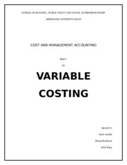 Variable costing report