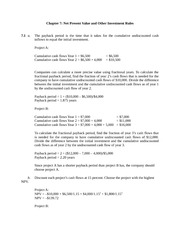 Chapter 7 Net Present Value and Other Investment Rules Assignment