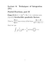 L8 Integrating Rational Functions by Partial Fractions II
