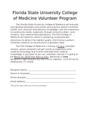 Florida State University College of Medicine Volunteer Program.docx