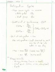 Refrigeration Cycles Notes