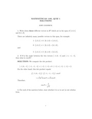 MATH 1105 Fall 2009 Quiz 1 Version 2 Solutions