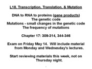 L18 - Transcription Translation Mutation