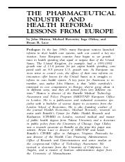 The Pharmaceutical Industry and Health Reform- Lessons from Europe