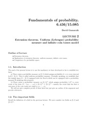Extension theorem, Uniform (Lebesgue) probability measure and infinite coin tosses model notes