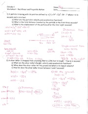 Review - Rectilinear and Projectile Motion 1 - Answers