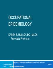 Occupational Epidemiology 2017