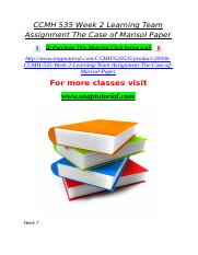 CCMH 535 Week 2 Learning Team Assignment The Case of Marisol Paper.doc