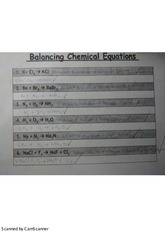 Science 10: Balancing Chemical Equations Worksheet
