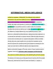 AFFIRMATIVE- MEDIA INFLUENCE