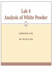 Analysis of White Powder-LECTURE