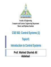 Topic 1 Introduction to Control systems