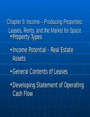 RES 3200 Chapter 9 Income Producing Properties.ppt