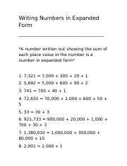 expanded form of 40  Writing Numbers in Expanded Form - Writing Numbers in ...
