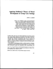 Article - Applying Kohlberg's Theory of Moral Development in Group Care Settings