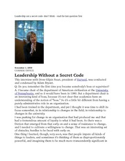 Leadership not a secret code