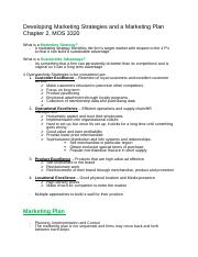 Chapter 2 Developing Marketing Strategies and a Marketing Plan.docx