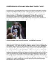 How does animals adapt to their climate of their habitats in tropics.docx